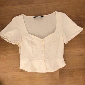 Zara Linen Flutter Sleeve Button Top Small